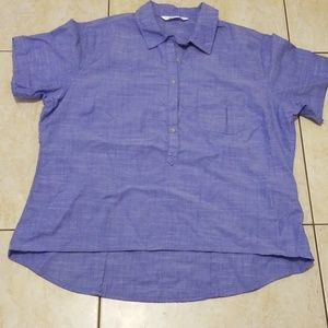 Rider by Lee Blue Button Down Shirt (XL)